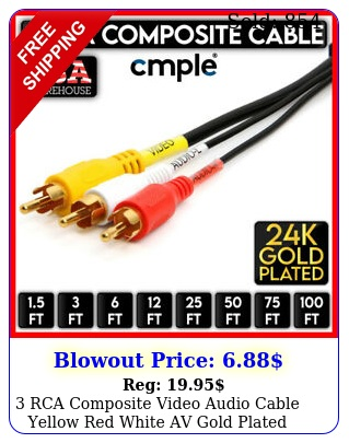 rca composite video audio cable yellow red white av gold plated wire lo