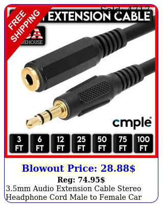 mm audio extension cable stereo headphone cord male to female car aux mp lo