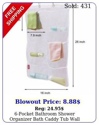 pocket bathroom shower organizer bath caddy tub wall hanging mesh storage bag