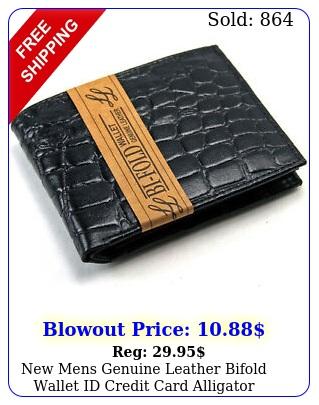 mens genuine leather bifold wallet id credit card alligator window crocodil