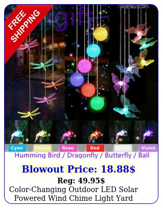 colorchanging outdoor led solar powered wind chime light yard garden decor gif