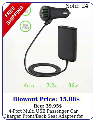 port multi usb passenger car charger frontback seat adapter iphone gp