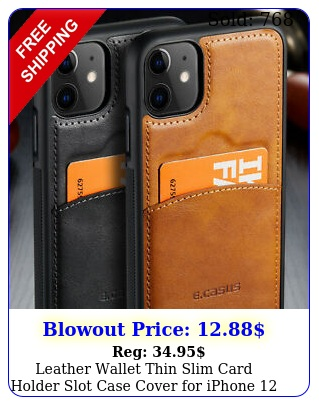 leather wallet thin slim card holder slot case cover iphone  pro ma
