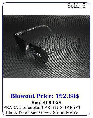 prada conceptual pr us abz black polarized grey mm men's sunglasse