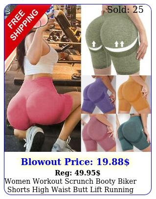 women workout scrunch booty biker shorts high waist butt lift running yoga pant