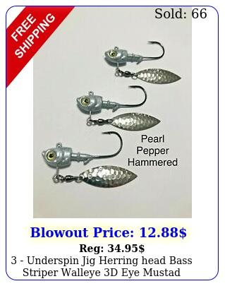 underspin jig herring head bass striper walleye d eye mustad hook