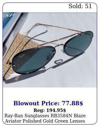 rayban sunglasses rbn blaze aviator polished gold green lenses unisex m