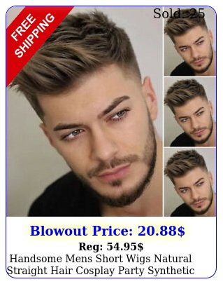 handsome mens short wigs natural straight hair cosplay party synthetic full wi