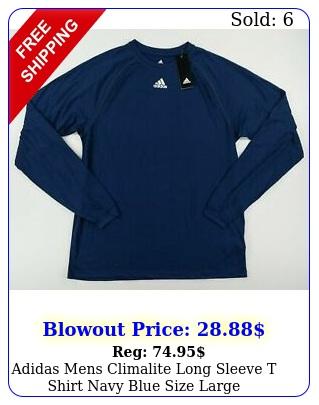 adidas mens climalite long sleeve t shirt navy blue size larg