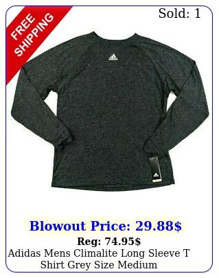 adidas mens climalite long sleeve t shirt grey size mediu