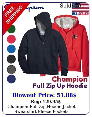champion full zip hoodie jacket sweatshirt fleece pockets ssgfgf