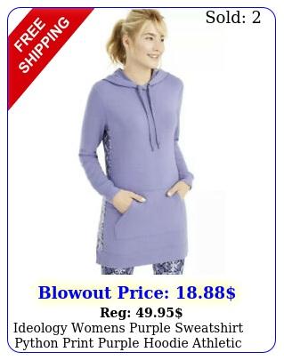 ideology womens purple sweatshirt python print purple hoodie athletic m mediu