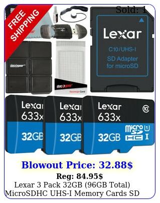 lexar pack gb gb total microsdhc uhsi memory cards  sd adapter bundl