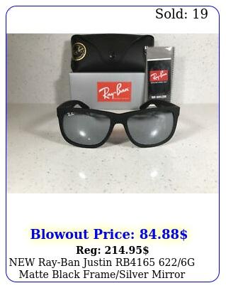 rayban justin rb g matte black framesilver mirror sunglasses m