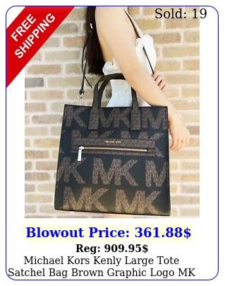 michael kors kenly large tote satchel bag brown graphic logo mk black mult