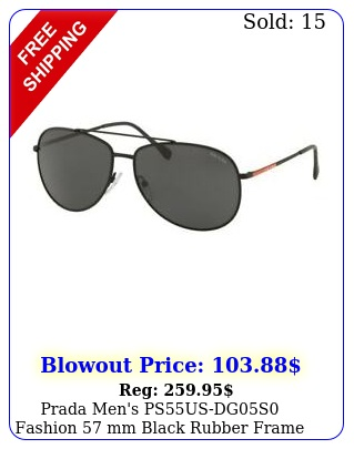 prada men's psusdgs fashion mm black rubber frame sunglasse