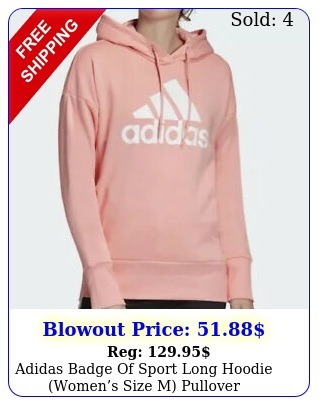 adidas badge of sport long hoodie womens size m pullover sweatshirt pink to