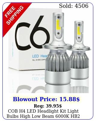 cob h led headlight kit light bulbs high low beam k hb w l