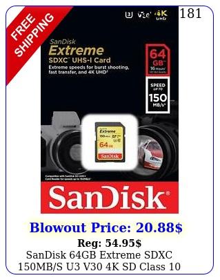 sandisk gb extreme sdxc mbs u v k sd class memory card sdsdxv