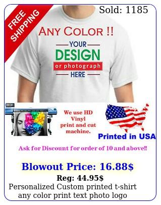 personalized custom printed tshirt any color print text photo logo