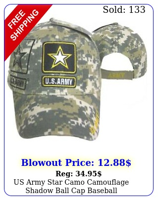 us army star camo camouflage shadow ball cap baseball embroidered licensed ha