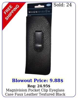 magnivision pocket clip eyeglass case faux leather textured blac