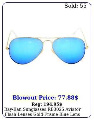 rayban sunglasses rb aviator flash lenses gold frame blue lens unisex m