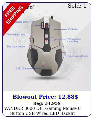 vander dpi gaming mouse button usb wired led backlit laptop pc mic