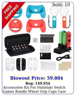 accessories kit nintendo switch games bundle wheel grip caps case in u