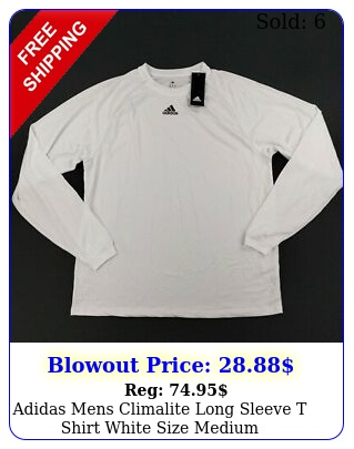 adidas mens climalite long sleeve t shirt white size mediu