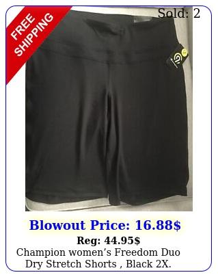 champion womens freedom duo dry stretch shorts black
