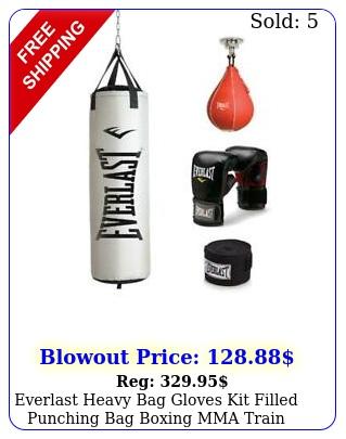 everlast heavy bag gloves kit filled punching bag boxing mma train exercise l