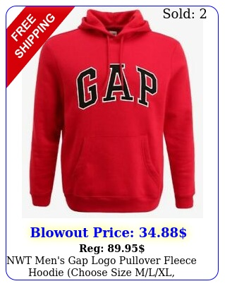 nwt men's gap logo pullover fleece hoodie choose size mlxl crimson re