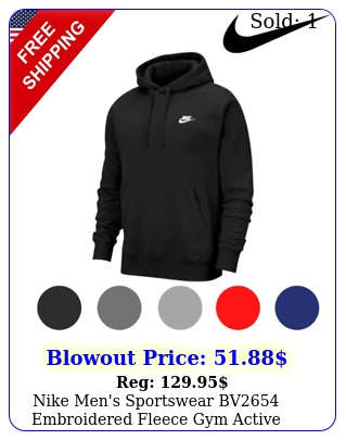 nike men's sportswear bv embroidered fleece gym active pullover hoodie sx