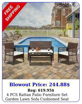 pcs rattan patio furniture set garden lawn sofa cushioned seat mix wicke