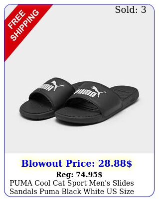 puma cool cat sport men's slides sandals puma black white us size i