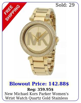 michael kors parker women's wrist watch quartz gold stainless steel m