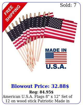 american usa flags x set of on wood stick patriotic made in us