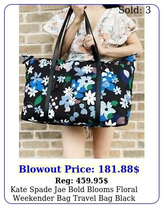 kate spade jae bold blooms floral weekender bag travel bag black blue mult