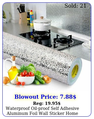 waterproof oilproof self adhesive aluminum foil wall sticker home kitchen deco