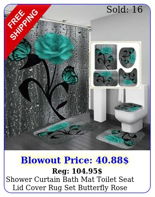 shower curtain bath mat toilet seat lid cover rug set butterfly rose flowe