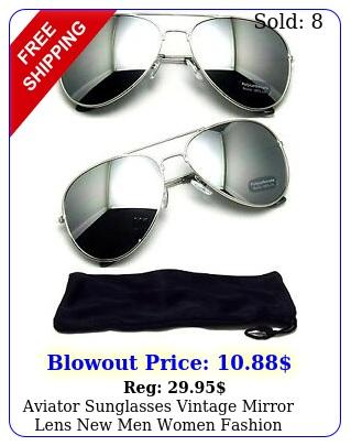 aviator sunglasses vintage mirror lens men women fashion frame retro silve