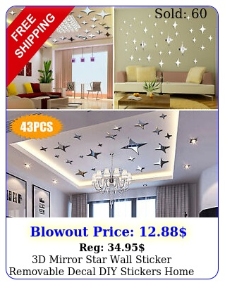 d mirror star wall sticker removable decal diy stickers home art modern deco