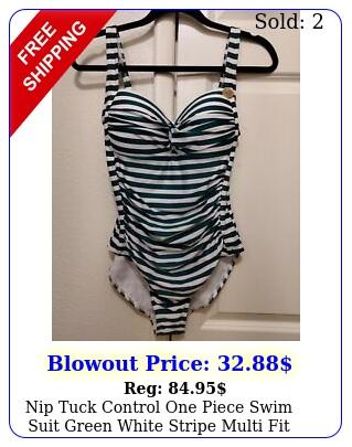 nip tuck control one piece swim suit green white stripe multi fit cup