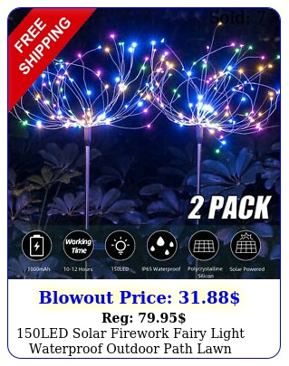 led solar firework fairy light waterproof outdoor path lawn garden lamp deco