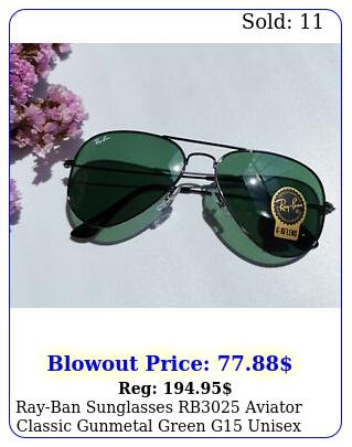 rayban sunglasses rb aviator classic gunmetal green g unisex m