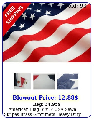 american flag ' x ' usa sewn stripes brass grommets heavy duty indoor outdoor