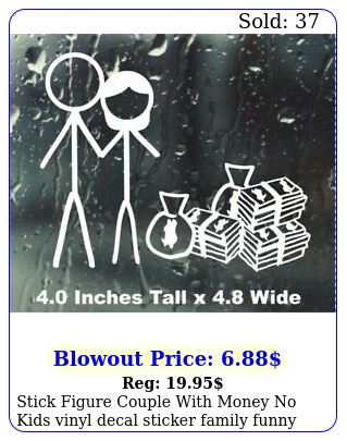 stick figure couple with money no kids vinyl decal sticker family funny ca