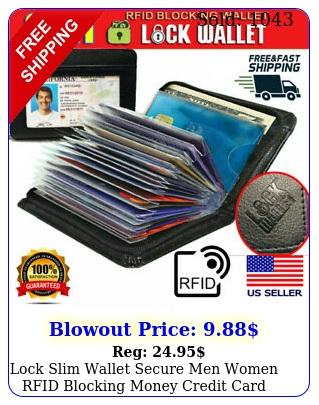lock slim wallet secure men women rfid blocking money credit card holder wallet
