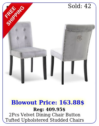 pcs velvet dining chair button tufted upholstered studded chairs kitchen forma
